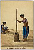 Women cleaning grain