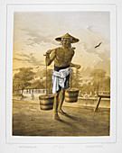 A man carrying two barrels of water