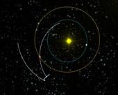 Rosetta spacecraft approaching asteroid