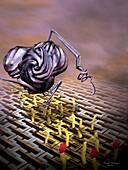 Nanobot modifying DNA,artwork
