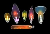 Assorted light bulbs,X-ray