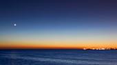 Moon and Venus at sunrise