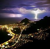 Night storm off Rio de Janeiro,Brazil