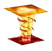 Solar magnetic plasma tornado,artwork