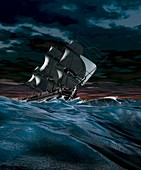 Sailing ship in rough weather,artwork