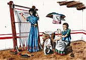 Iberian wool loom,artwork
