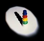 Light illuminating multicoloured object