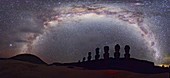 Easter Island moai and Milky Way