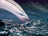 Gas giant planet's rings,artwork