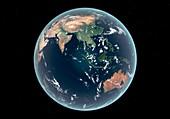 East hemisphere with sea level rise