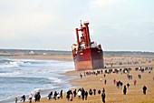 Beached cargo ship TK Bremen