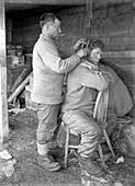 Hair cut in the Antarctic,1912