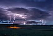 Lightning strikes,Wyoming,USA
