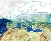 Pre-Zanclean Flood Mediterranean,artwork