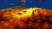 Nanomolecules on graphene,artwork