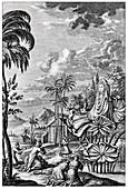 Sun worship in Babylonia,artwork
