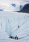 Ice-climbing class on a glacier