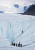 Ice-climbing class on a glacier