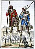 French shepherds on stilts,illustration