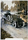 First World War vehicle,illustration