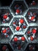 Water molecules inside nanopores
