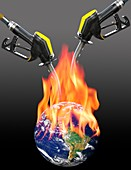 Fuelling global warming,conceptual image