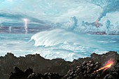 Earth's first oceans,illustration