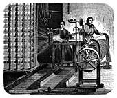 Textile mill warping creel,19th century
