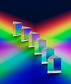 6 Prisms reflecting spectral colours