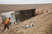 Lorry accident cleanup,USA