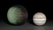 Kepler-7b and Jupiter,illustration
