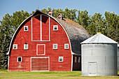 Wooden barn on a farm in Alberta,Canada