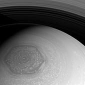Saturn's hexagon,Cassini image