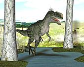 Monolophosaurus dinosaur,illustration