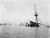 Wreck of USS Maine in Havana,circa 1900