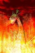 Fire-breathing dragon,illustration