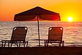 Sunset over a beach in Myrina,on Lemnos