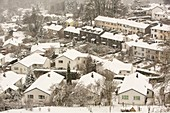 Houses in Ambleside under heavy snowfall