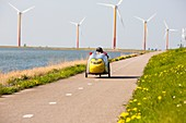 Colourful wind turbines,Netherlands
