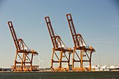 Plane flying past dock side cranes