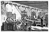 Otto engine in a factory,19th century