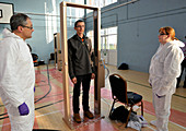 Radiation detector security gate training