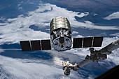 Cygnus cargo spacecraft docking with ISS