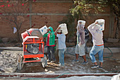 Cement mixing for road-building,Mexico