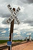 Railway crossing and grain elevators