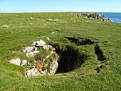 Sinkhole in limestone cliff,UK