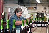 Worker packing bottles at a winery