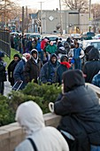 People queuing at a food bank,USA