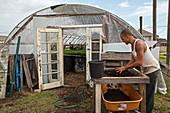 Volunteer at an urban farm,USA