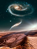 Alien planet and galaxies,illustration